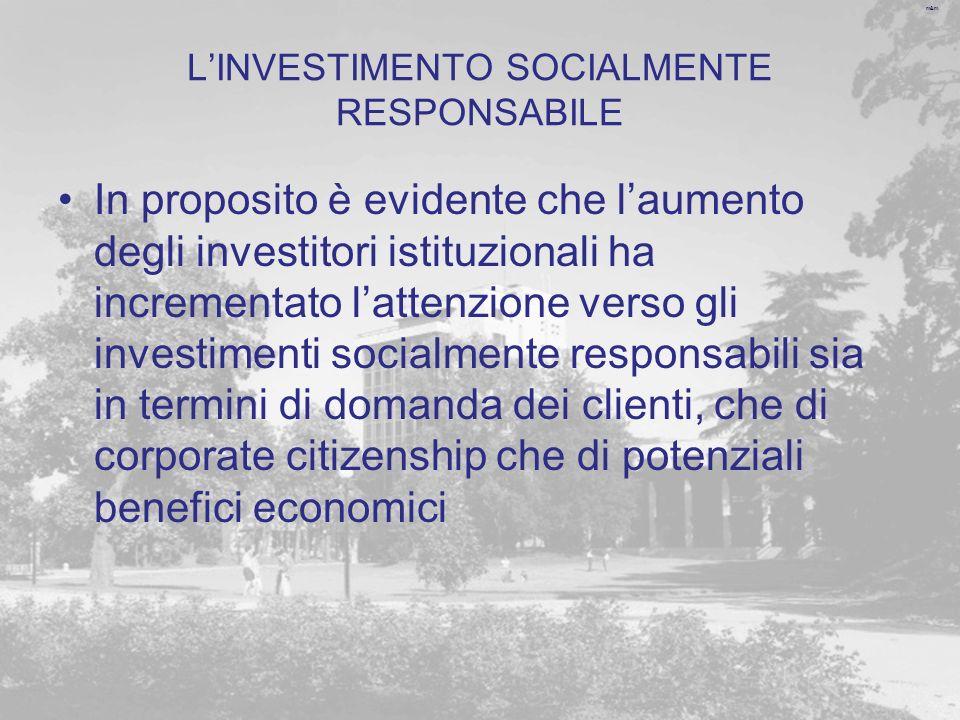 L'INVESTIMENTO SOCIALMENTE RESPONSABILE