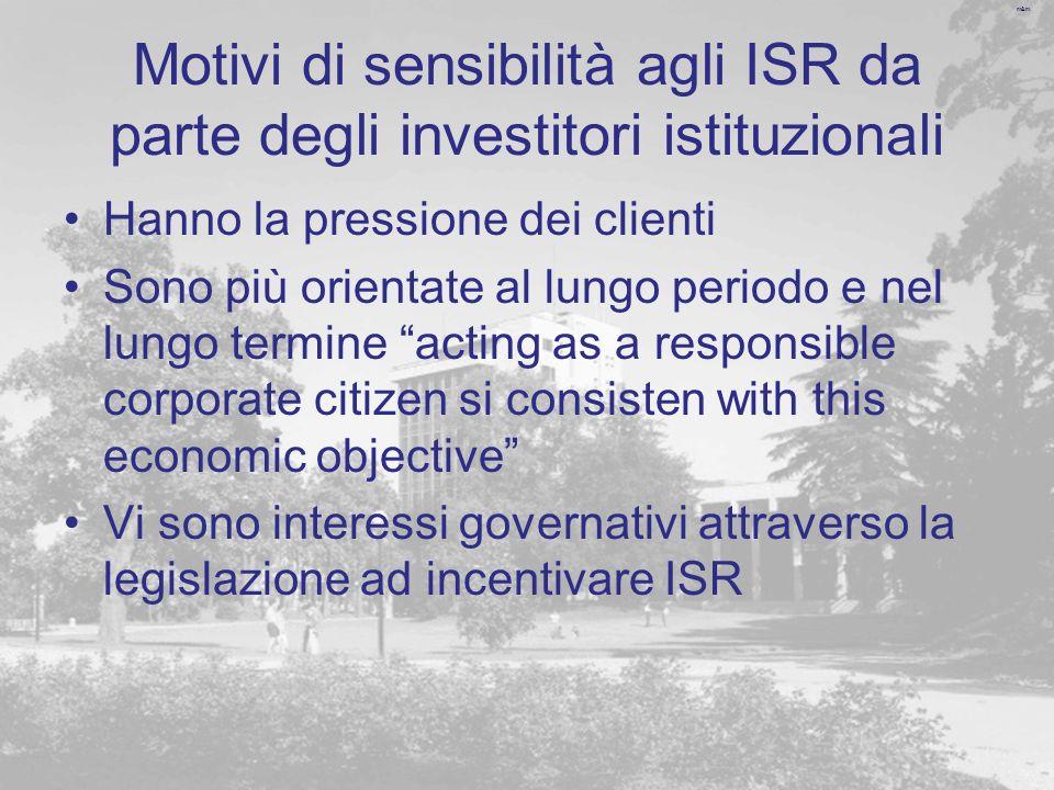 Motivi di sensibilità agli ISR da parte degli investitori istituzionali