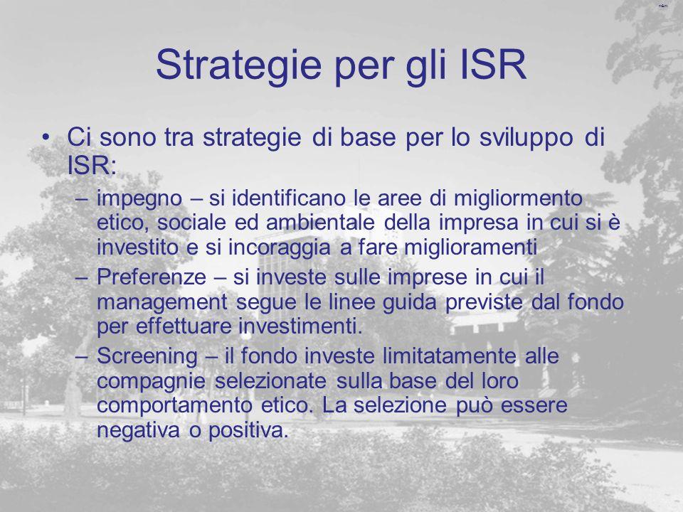 Strategie per gli ISR Ci sono tra strategie di base per lo sviluppo di ISR: