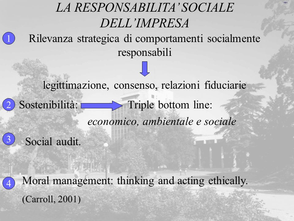 LA RESPONSABILITA' SOCIALE DELL'IMPRESA