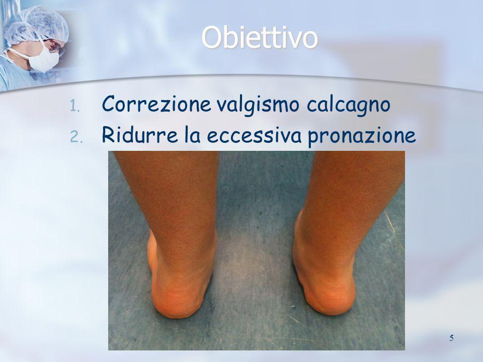 Obiettivo Correzione valgismo calcagno Ridurre la eccessiva pronazione