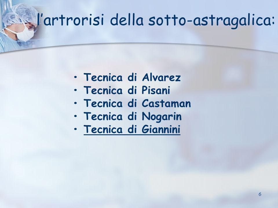 l'artrorisi della sotto-astragalica: