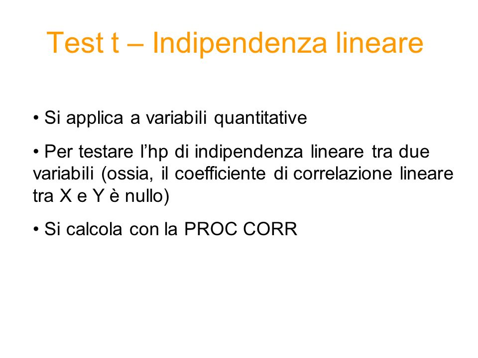 Test t – Indipendenza lineare