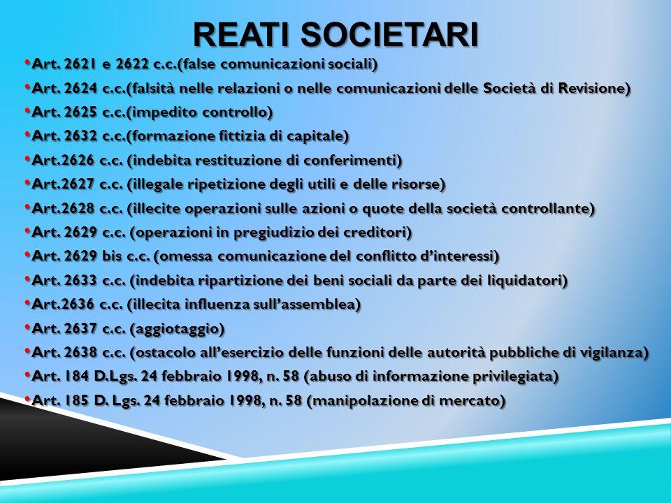 Reati Societari Art. 2621 e 2622 c.c.(false comunicazioni sociali)