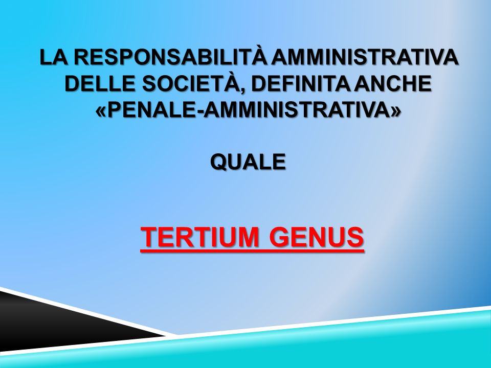 La responsabilità amministrativa delle società, definita anche