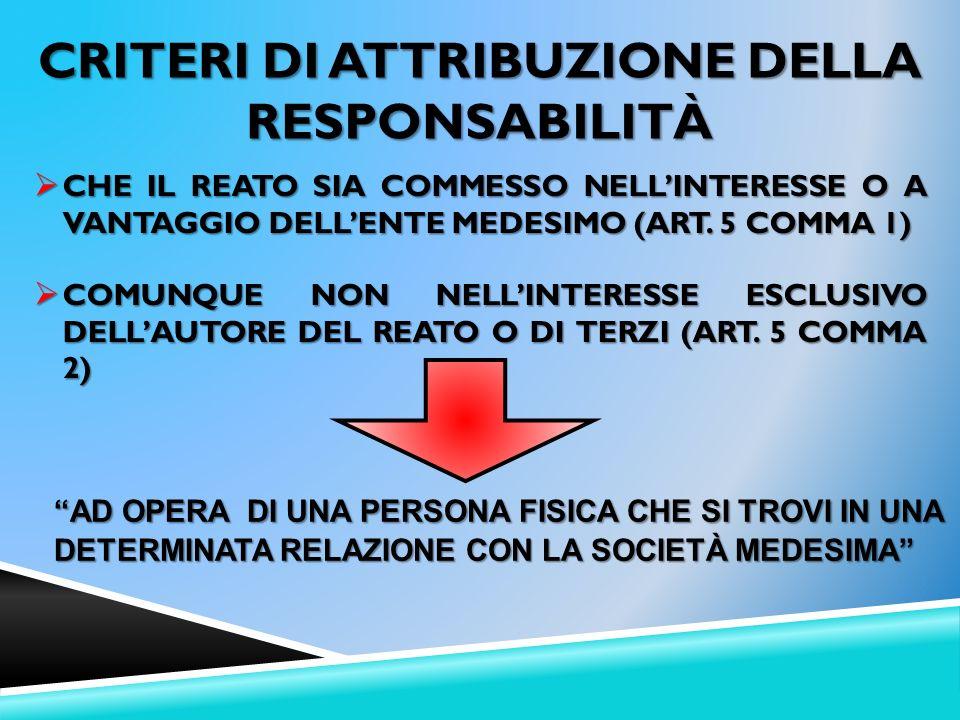 Criteri di attribuzione della responsabilità
