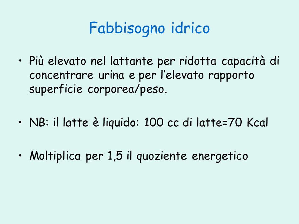 Fabbisogno idrico Più elevato nel lattante per ridotta capacità di concentrare urina e per l'elevato rapporto superficie corporea/peso.