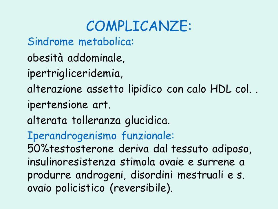 COMPLICANZE: Sindrome metabolica: obesità addominale,