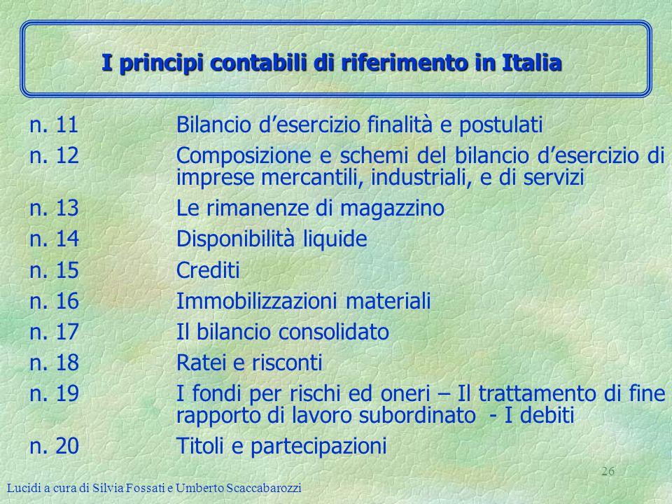 I principi contabili di riferimento in Italia