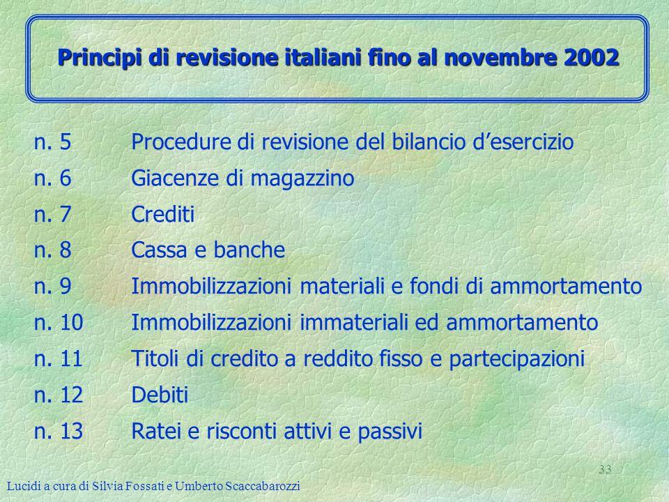 Principi di revisione italiani fino al novembre 2002