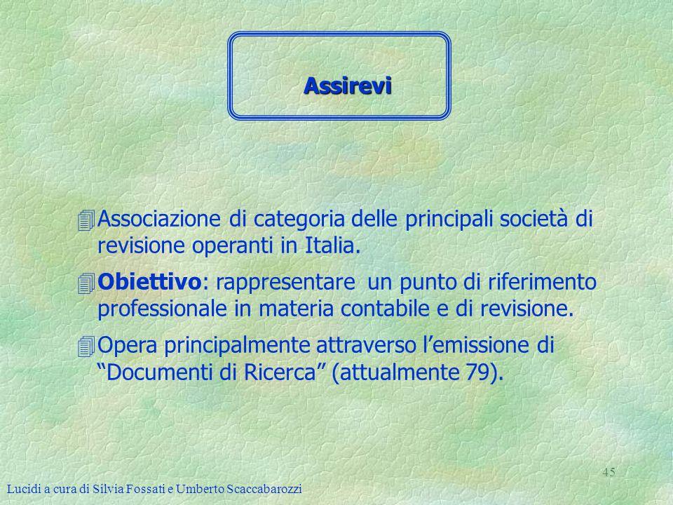 Assirevi Associazione di categoria delle principali società di revisione operanti in Italia.