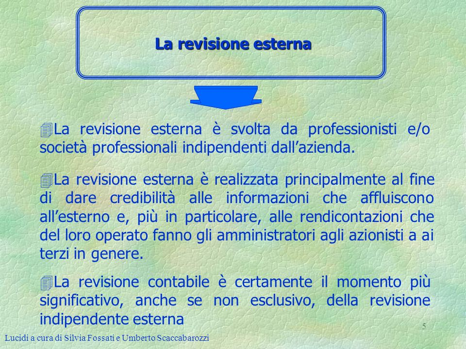La revisione esterna La revisione esterna è svolta da professionisti e/o società professionali indipendenti dall'azienda.