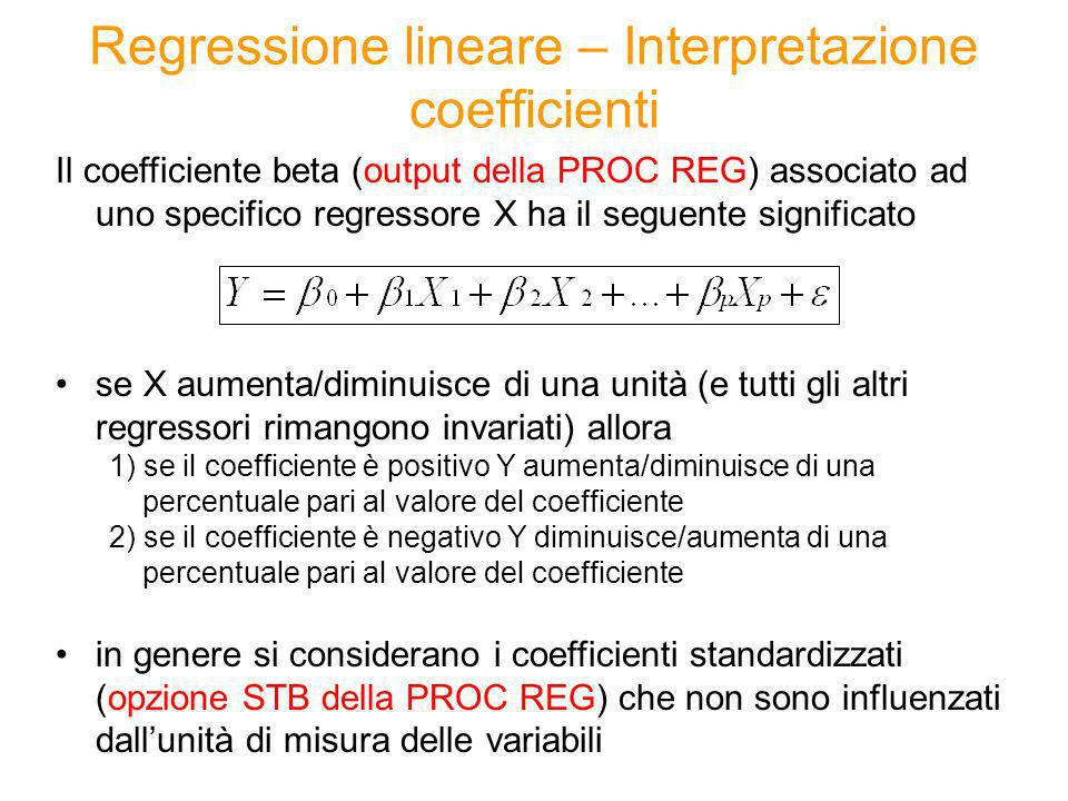 Regressione lineare – Interpretazione coefficienti