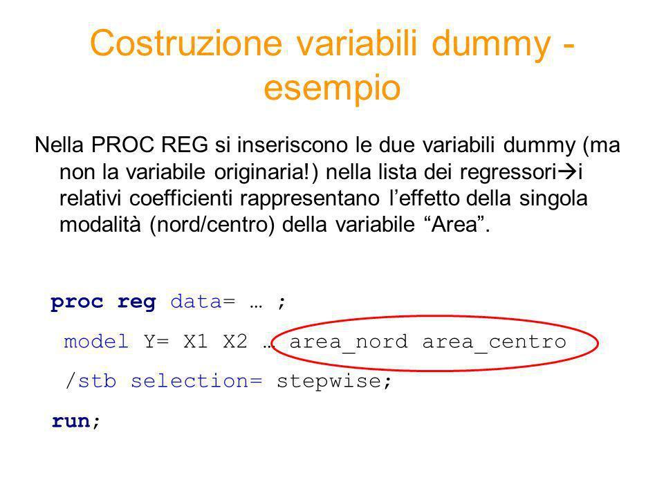 Costruzione variabili dummy - esempio
