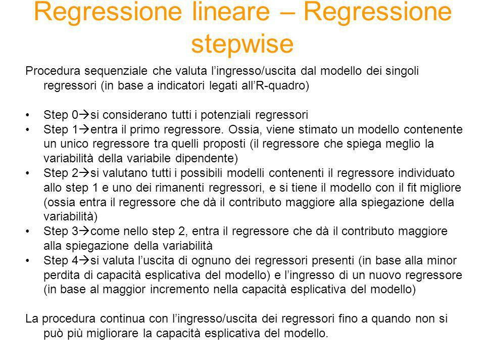 Regressione lineare – Regressione stepwise