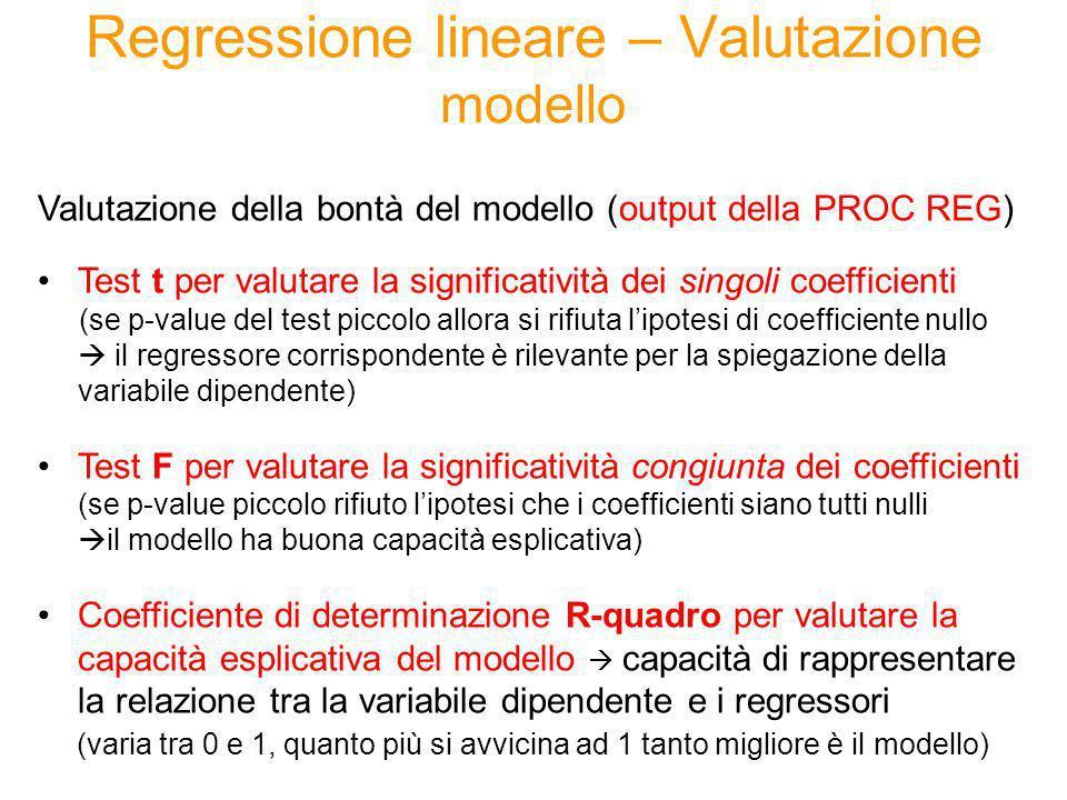 Regressione lineare – Valutazione modello
