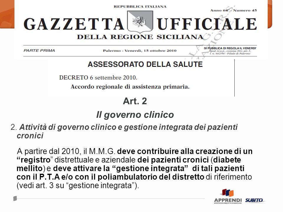 Art. 2 Il governo clinico. 2. Attività di governo clinico e gestione integrata dei pazienti cronici.