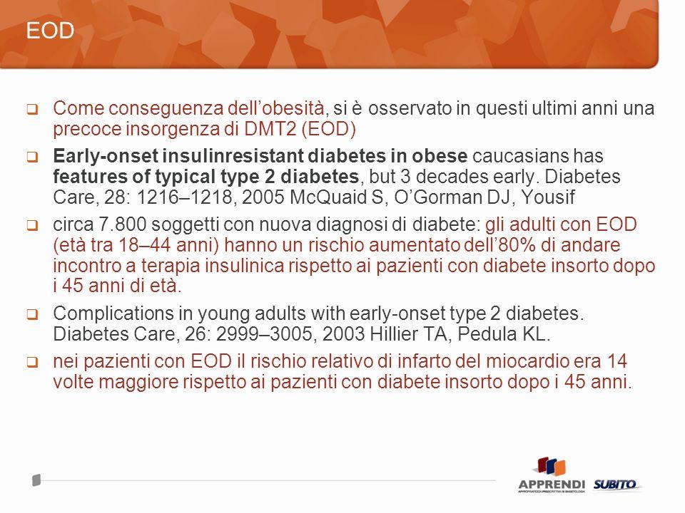EOD Come conseguenza dell'obesità, si è osservato in questi ultimi anni una precoce insorgenza di DMT2 (EOD)