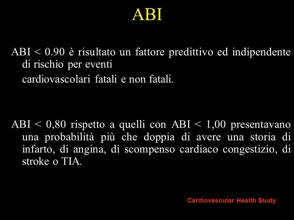 ABI ABI < 0.90 è risultato un fattore predittivo ed indipendente di rischio per eventi. cardiovascolari fatali e non fatali.