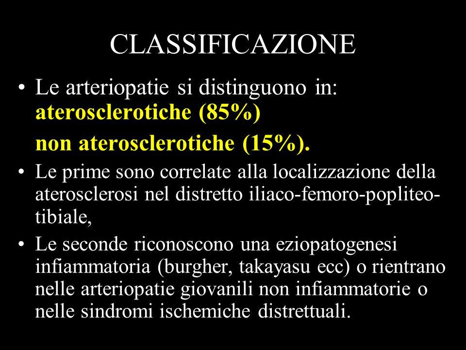 CLASSIFICAZIONE Le arteriopatie si distinguono in: aterosclerotiche (85%) non aterosclerotiche (15%).