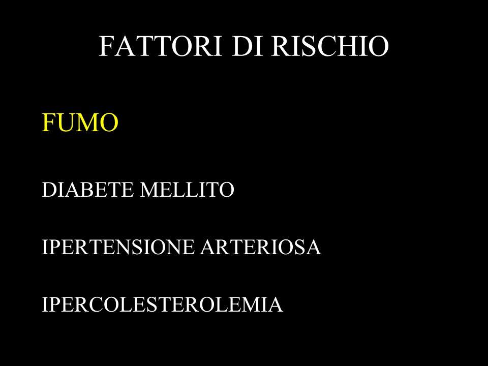 FATTORI DI RISCHIO FUMO DIABETE MELLITO IPERTENSIONE ARTERIOSA