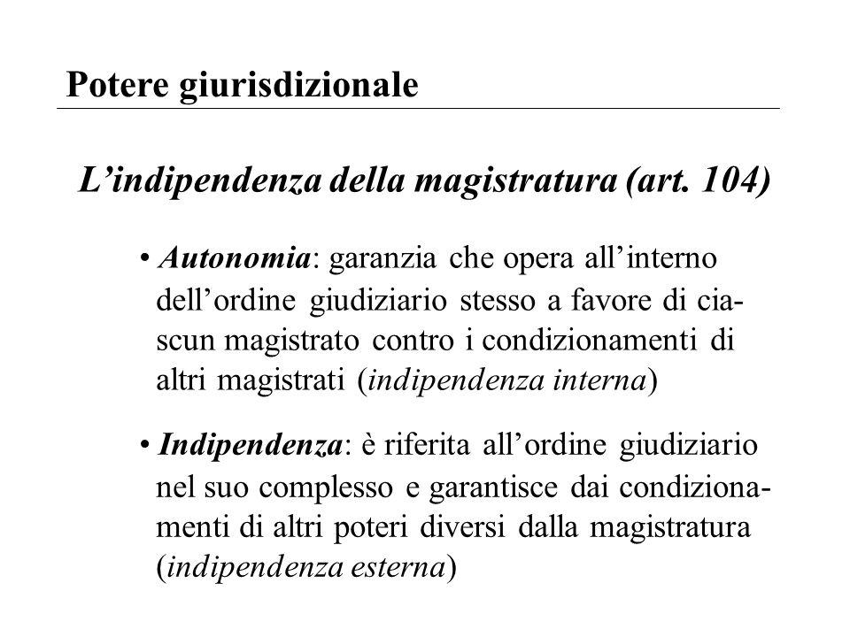 L'indipendenza della magistratura (art. 104)