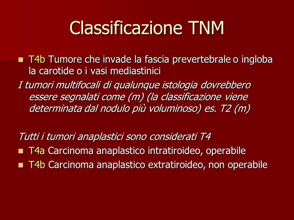 Classificazione TNM T4b Tumore che invade la fascia prevertebrale o ingloba la carotide o i vasi mediastinici.