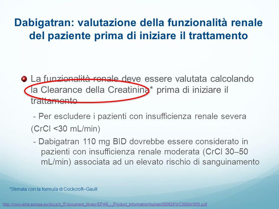 Dabigatran: valutazione della funzionalità renale