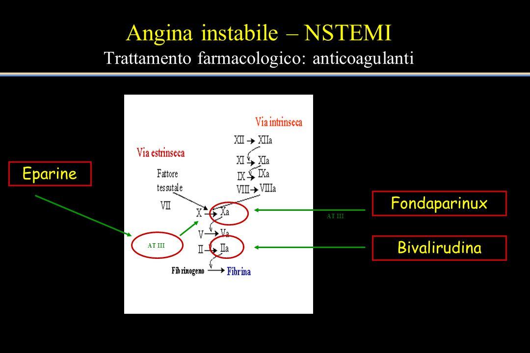 Angina instabile – NSTEMI Trattamento farmacologico: anticoagulanti