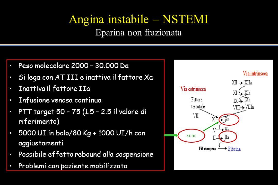 Angina instabile – NSTEMI Eparina non frazionata