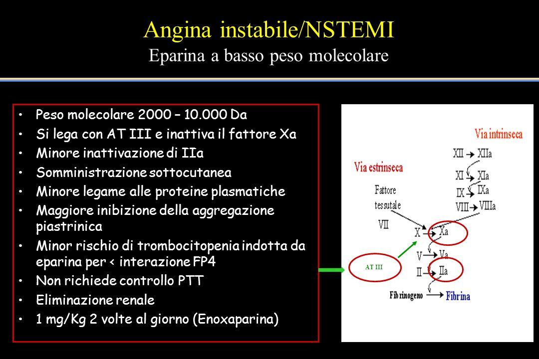 Angina instabile/NSTEMI Eparina a basso peso molecolare