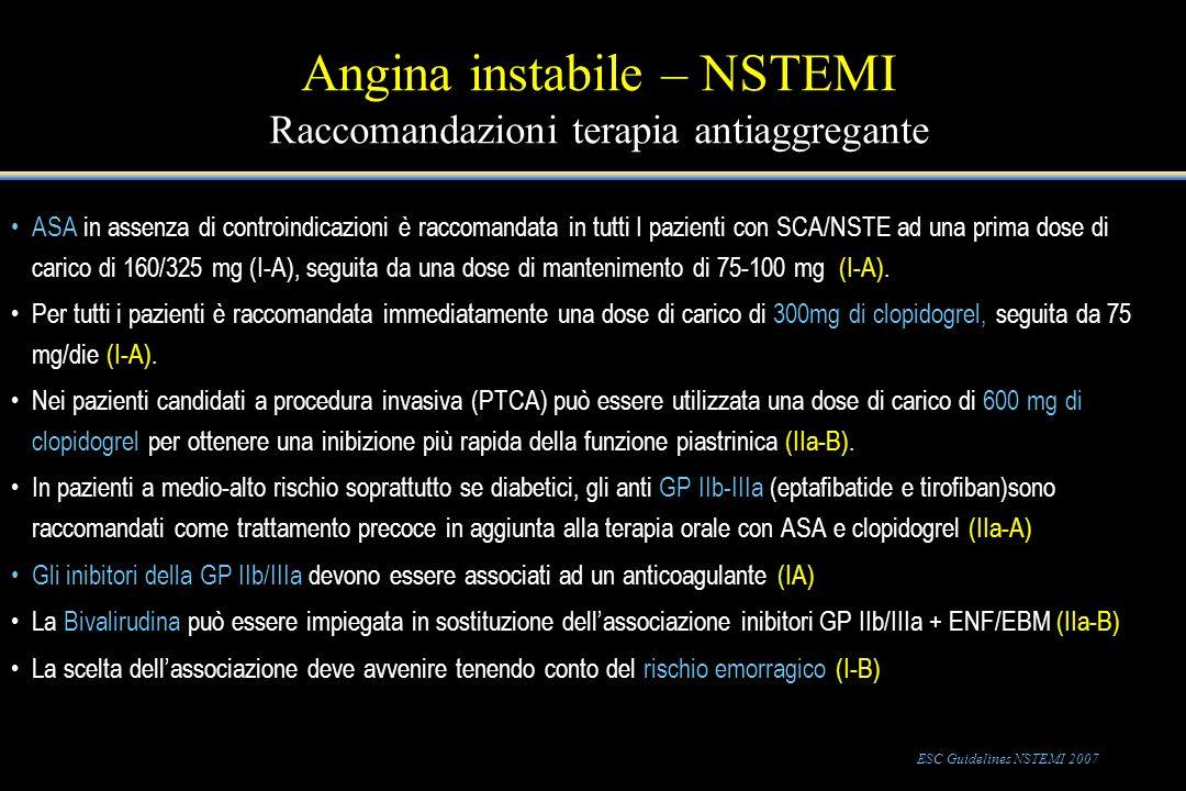 Angina instabile – NSTEMI Raccomandazioni terapia antiaggregante