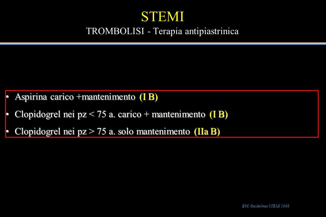STEMI TROMBOLISI - Terapia antipiastrinica