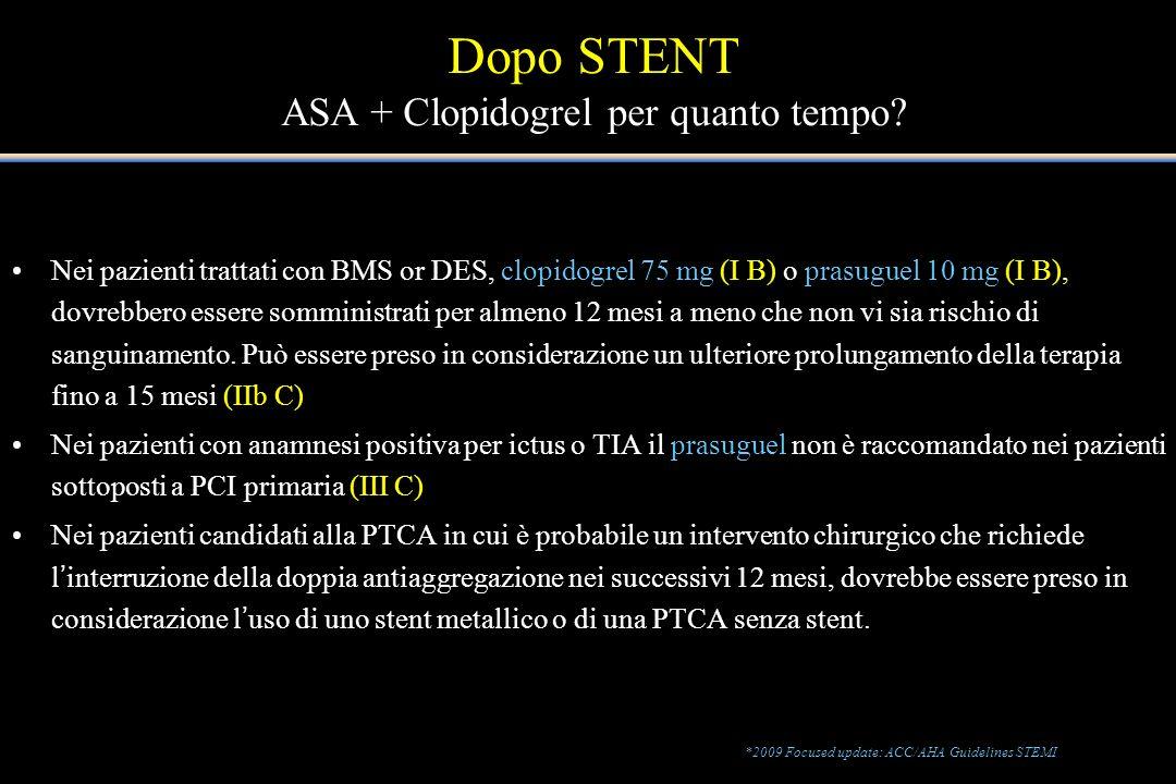 Dopo STENT ASA + Clopidogrel per quanto tempo
