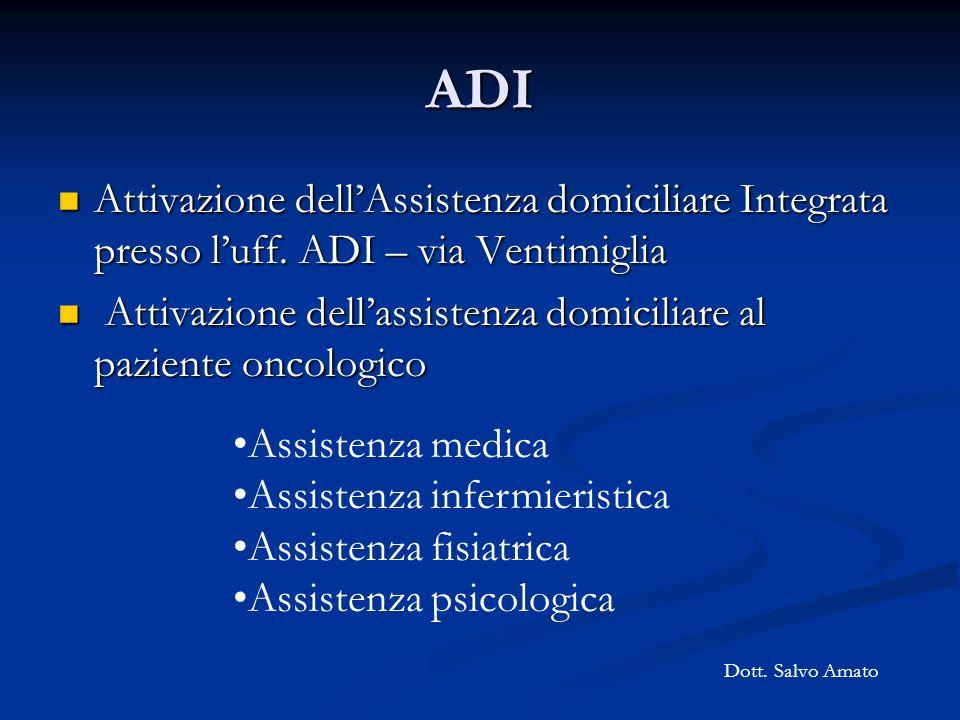 ADI Attivazione dell'Assistenza domiciliare Integrata presso l'uff. ADI – via Ventimiglia.