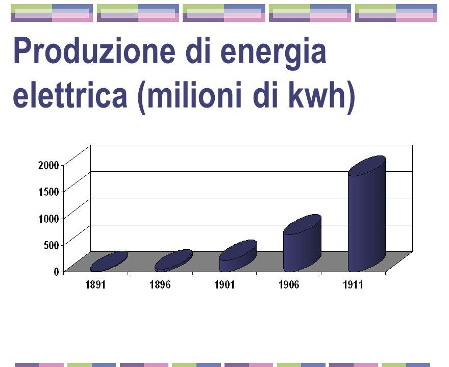 Produzione di energia elettrica (milioni di kwh)
