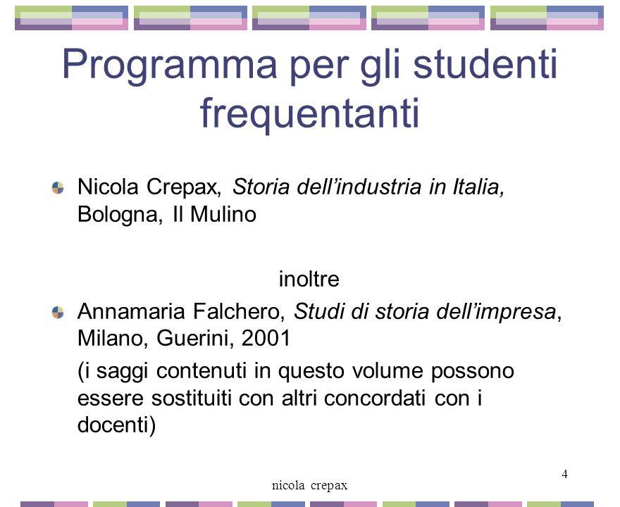 Programma per gli studenti frequentanti