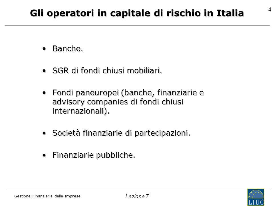 Gli operatori in capitale di rischio in Italia