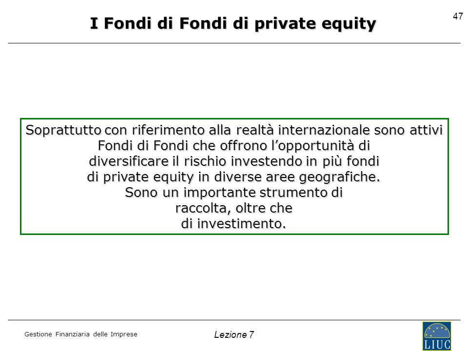 I Fondi di Fondi di private equity