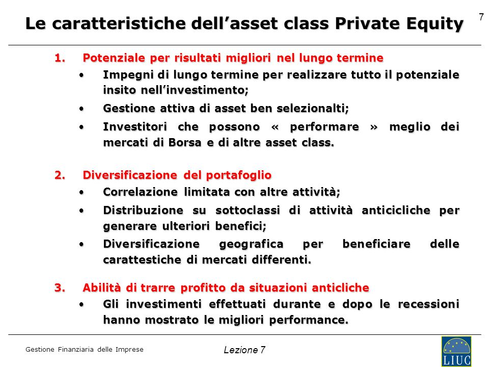 Le caratteristiche dell'asset class Private Equity