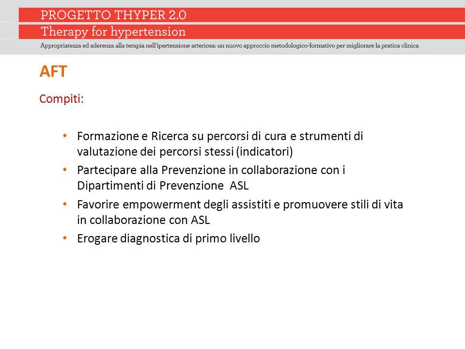 AFT Compiti: Formazione e Ricerca su percorsi di cura e strumenti di valutazione dei percorsi stessi (indicatori)