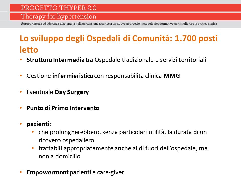Lo sviluppo degli Ospedali di Comunità: 1.700 posti letto