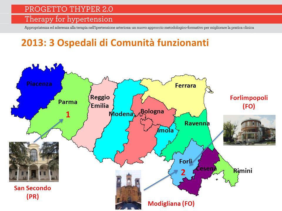 2013: 3 Ospedali di Comunità funzionanti