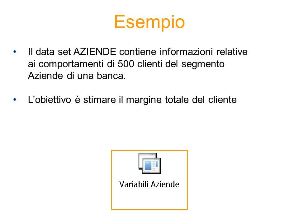 EsempioIl data set AZIENDE contiene informazioni relative ai comportamenti di 500 clienti del segmento Aziende di una banca.