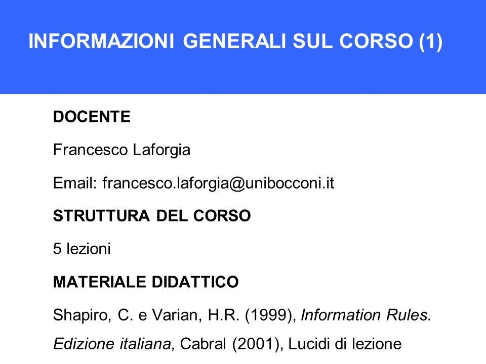 INFORMAZIONI GENERALI SUL CORSO (1)