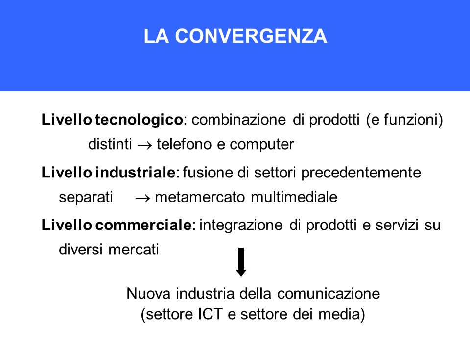 LA CONVERGENZALivello tecnologico: combinazione di prodotti (e funzioni) distinti  telefono e computer.