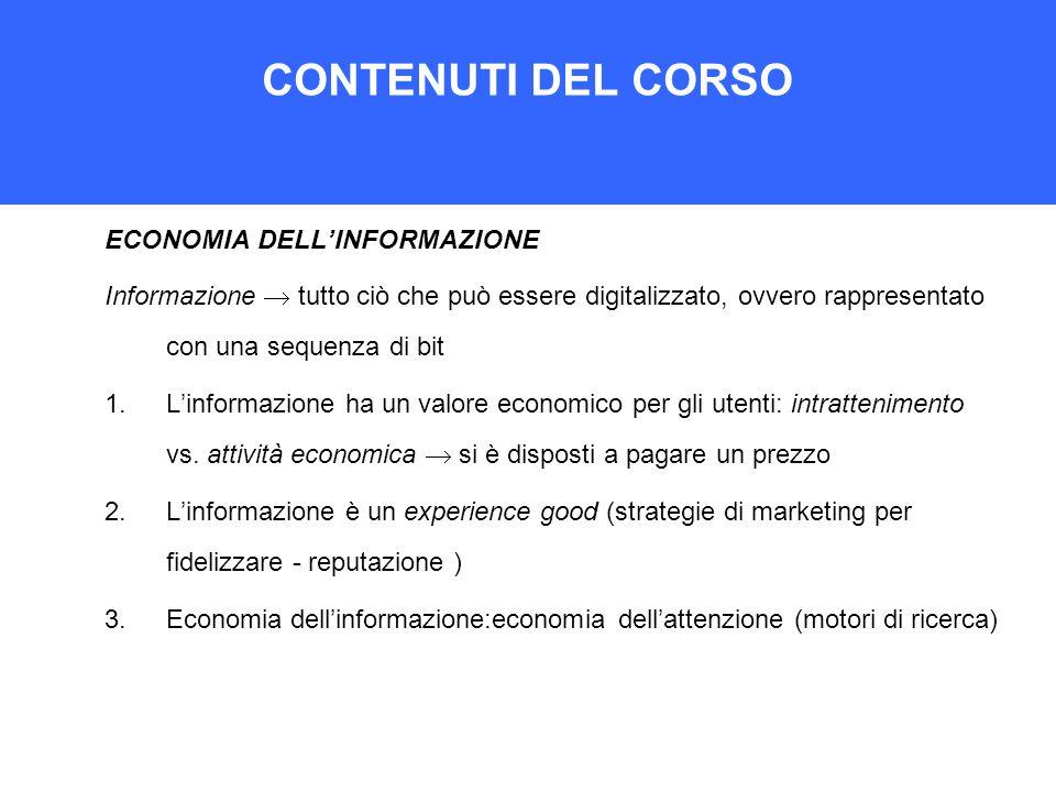 CONTENUTI DEL CORSO ECONOMIA DELL'INFORMAZIONE