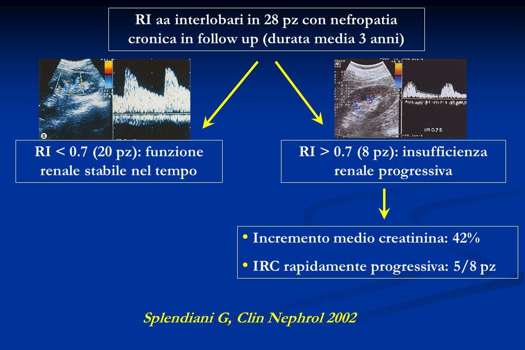 RI < 0.7 (20 pz): funzione renale stabile nel tempo