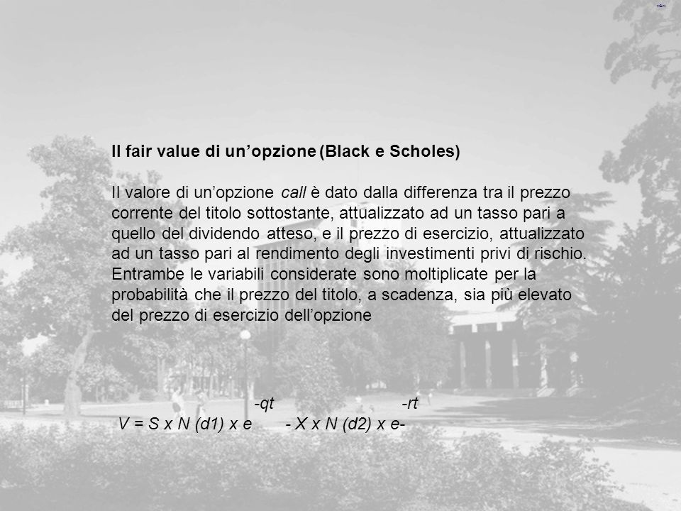 Il fair value di un'opzione (Black e Scholes)