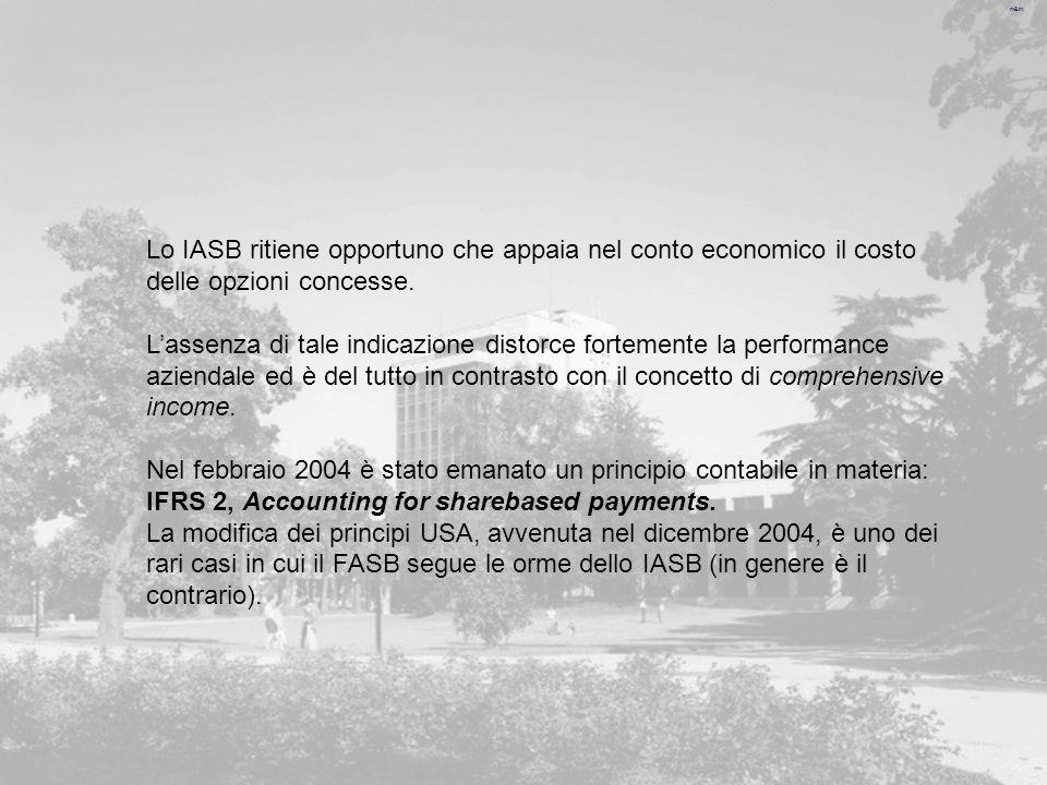 Lo IASB ritiene opportuno che appaia nel conto economico il costo delle opzioni concesse.